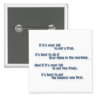 Mark Twain Quote - If it's your job to eat a frog… 2 Inch Square Button