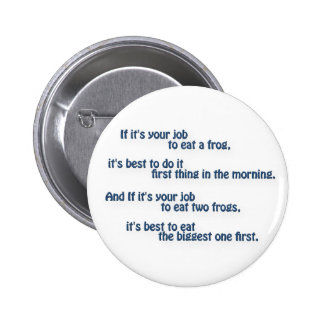 Mark Twain Quote - If it's your job to eat a frog… 2 Inch Round Button