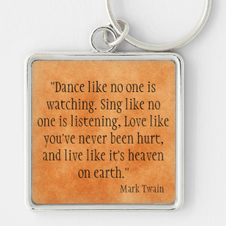Mark Twain Silver-Colored Square Keychain