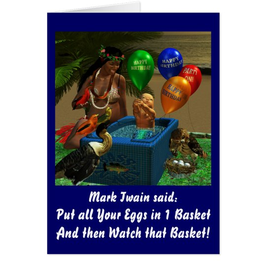 Mark Twain's Basket Birthday Card