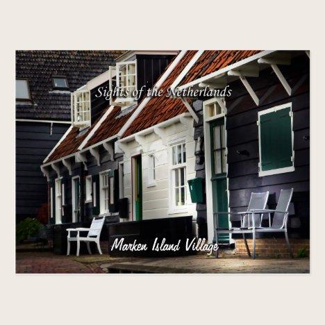 Marken Island Village Scene, Netherlands Sights Postcard