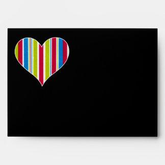 Marker Lines - Green Red Blue - Love Heart Envelopes