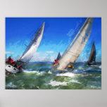 Marker Sketch of Racing Sailboats in Rough Seas Print