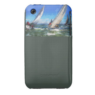 Marker Sketch of Turning Yachts in Rough Seas iPhone 3 Case