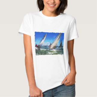 Marker Sketch of Turning Yachts in Rough Seas Shirt