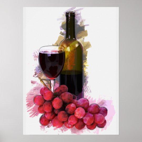 Marker Sketch, Wine Glass, Bottle, Grapes Poster