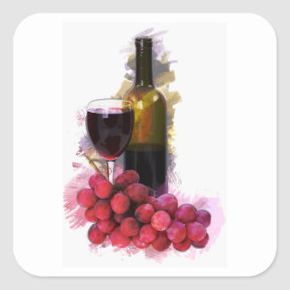 Marker Sketch, Wine Glass, Bottle, Grapes Square Sticker