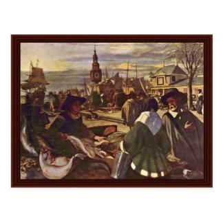 Market At The Harbor By Witte Emanuel De Postcard