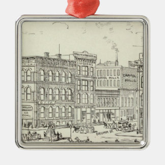 Market, California and Drumm North Side Square Metal Christmas Ornament