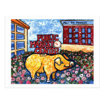 Market Center Pig Postcard