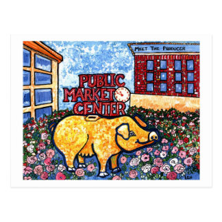 Market Center Pig Postcard