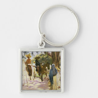 Market day at San Gabriel , Mexico Silver-Colored Square Keychain