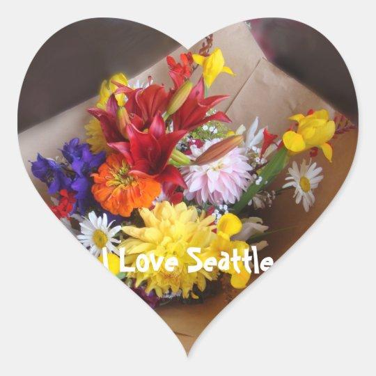 Market Flowers Heart Sticker
