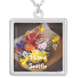 Market Flowers Square Pendant Necklace