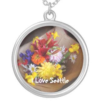 Market Flowers Round Pendant Necklace