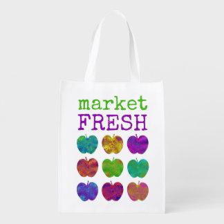 Market Fresh Colorful Apple Reusable Grocery Bag