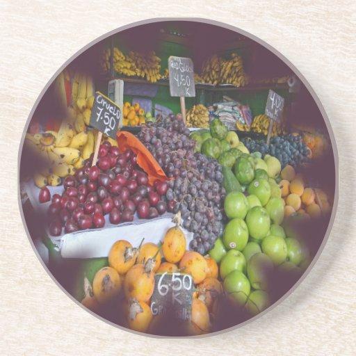 Market Fruit Stall Beverage Coasters