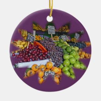 Market Fruit Stall Double-Sided Ceramic Round Christmas Ornament