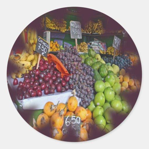 Market Fruit Stall Round Sticker