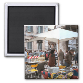 Market in central Rome, 2 Inch Square Magnet