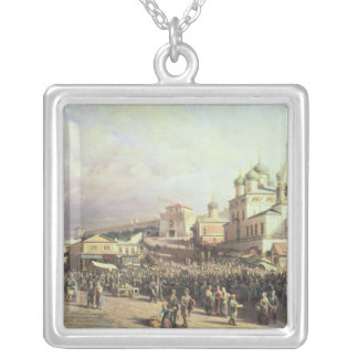 Market in Nishny, Novgorod, 1872 Silver Plated Necklace