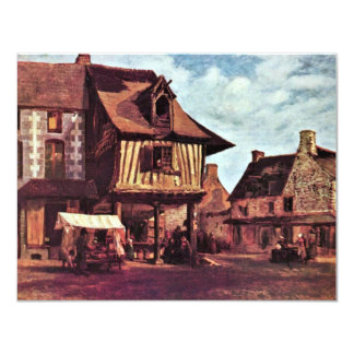 Market In Normandy By Rousseau Théodore 4.25x5.5 Paper Invitation Card