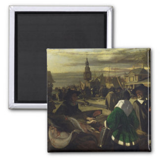 Market in the Hague, c.1660 2 Inch Square Magnet
