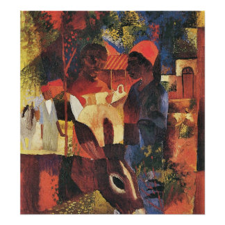 Market in Tunisia by August Macke Poster