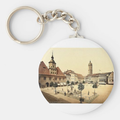 Market place and Bismarck's Fountain, Jena, Thurin Key Chains
