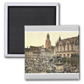 Market place, Breslau, Silesia, Germany (i.e., Wro 2 Inch Square Magnet