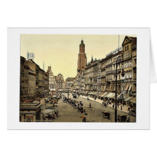 Market place, from the East, Breslau, Silesia, Ger Card