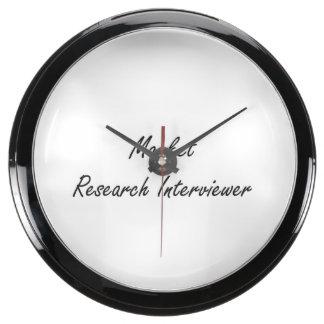 Market Research Interviewer Artistic Job Design Aqua Clock