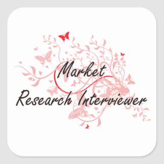 Market Research Interviewer Artistic Job Design wi Square Sticker