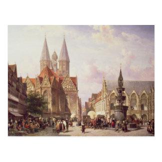 Market Scene at Braunschweig Postcard