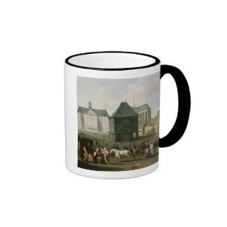 Market Scene before the Dam Palace, Amsterdam Ringer Coffee Mug