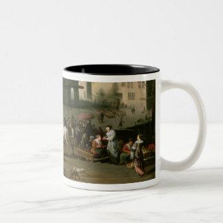 Market Scene before the Dam Palace, Amsterdam Two-Tone Coffee Mug