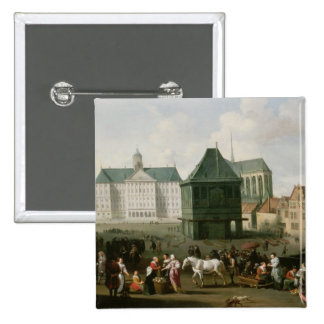 Market Scene before the Dam Palace, Amsterdam Pinback Button