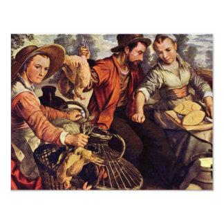 Market Scene By Beuckelaer Joachim (Best Quality) 4.25x5.5 Paper Invitation Card
