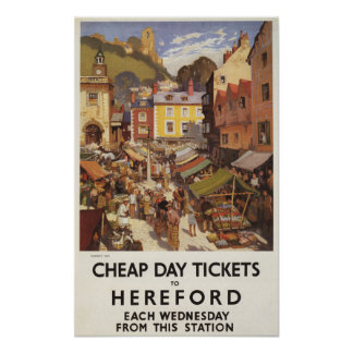 Market Scene Railway Poster