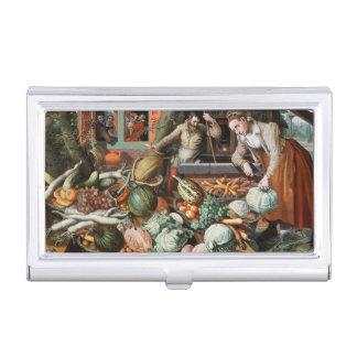 """""""Market Scene"""" vintage art business card holder"""