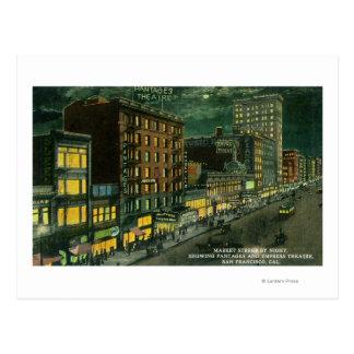 Market St at Night, Pantages, Empress Theatre Postcard
