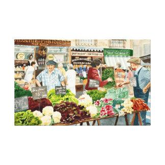 Market stalls, Dieppe Canvas Print