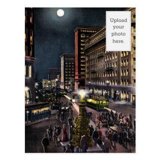 Market Street and Lotta's Fountain at Night Postcard
