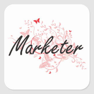 Marketer Artistic Job Design with Butterflies Square Sticker
