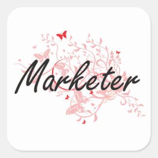 Marketer Artistic Job Design with Butterflies Square Sticker