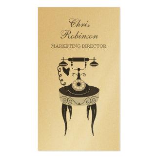 Márketing antiguo del teléfono del vintage del oro tarjetas de visita