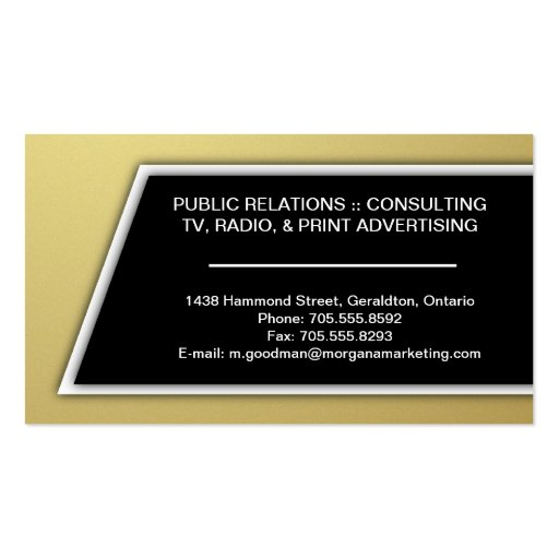 Marketing Consultant Business Card - Gold & Black (back side)