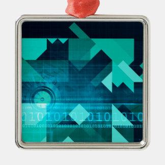 Márketing en línea para el cliente empresa en adorno cuadrado plateado