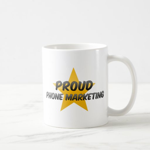 Márketing orgulloso del teléfono taza de café