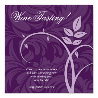 """Márketing púrpura de la hoja del fiesta del vino invitación 5.25"""" x 5.25"""""""